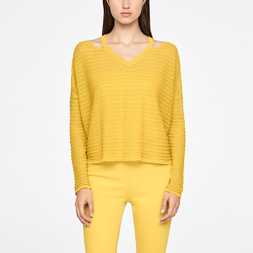 Short yellow linen sweater