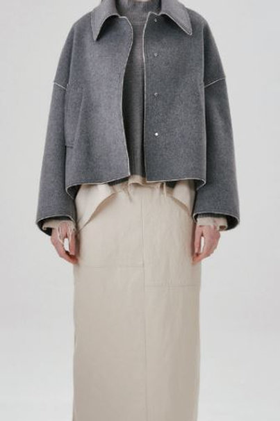 LEATHER PATCHED SKIRT