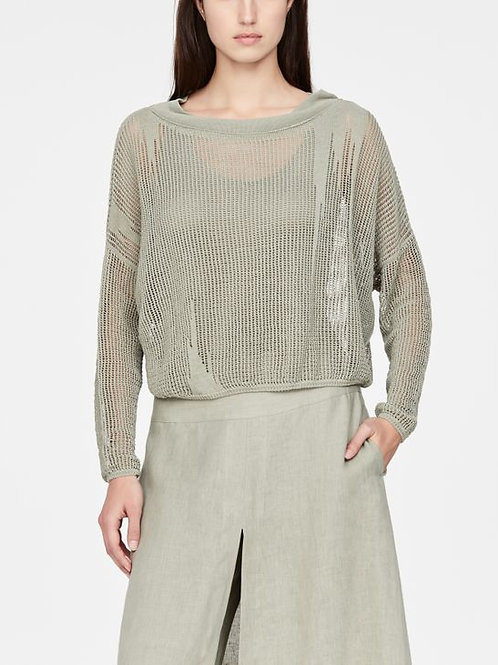 PERFORATED LINEN SWEATER - FULL SLEEVES