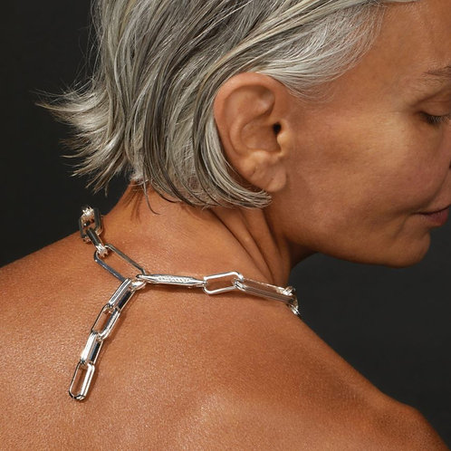 RAHNI RIBBED NECKLACE-SILVER