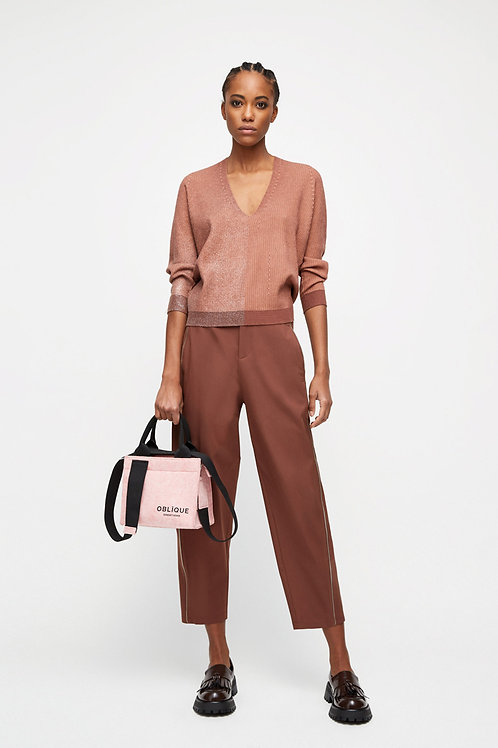 TWO-TONE STRETCH TOP