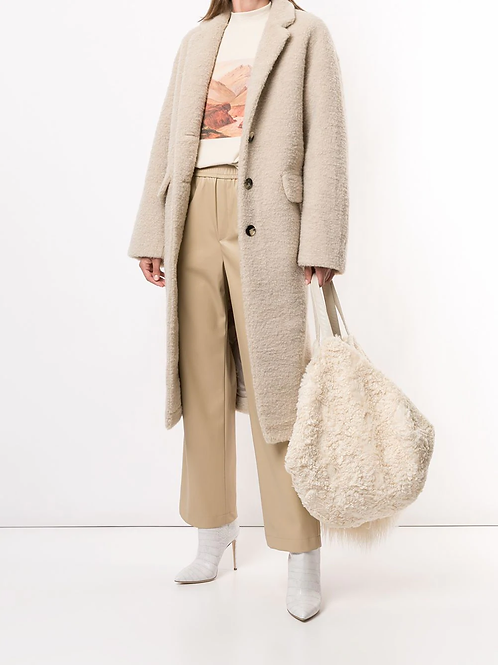 contrast panel faux shearling tote bag