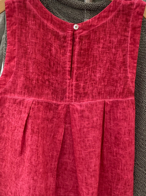ROSE PINK BACK BUTTON LINEN TOP