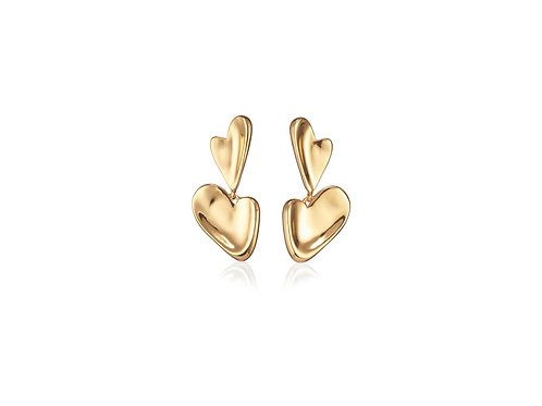 heart drop gold earring