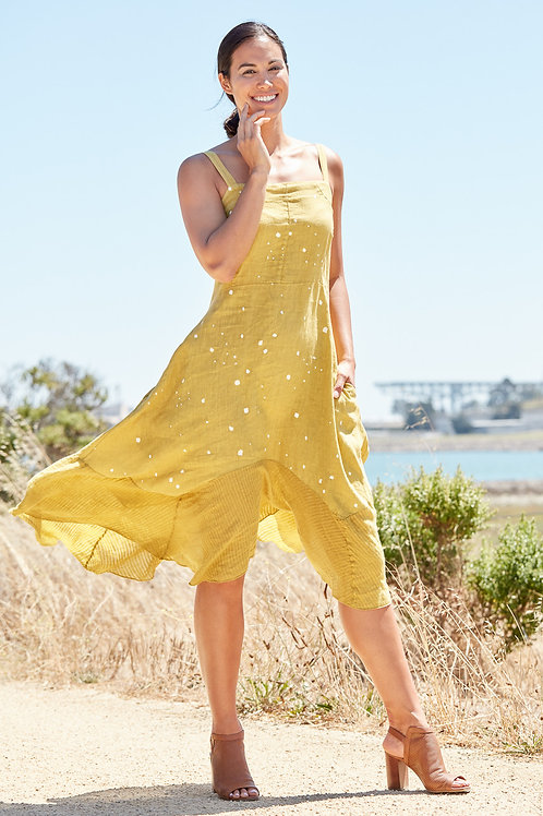 MUSTARD POLKA DOT LINEN DRESS