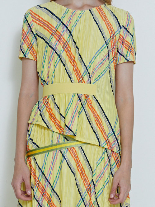 BANDED TEXTURE CAMPER BLOUSE