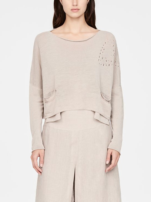 SAND CROPPED LINEN SWEATER