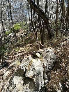 Rock pile marker, walking track Tidbinbilla Peak