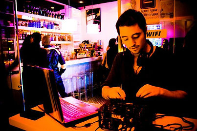 steely dave playing a dj set in the ice bar barcelona
