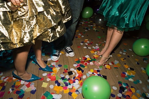 foot shot of people on a dancefloor at a wedding in ireland