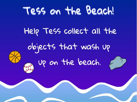 tess on the beach game splash page