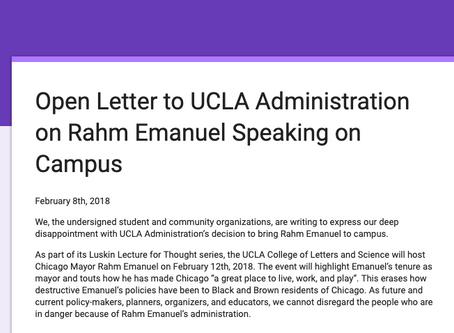 Sign on re: Rahm Emanuel