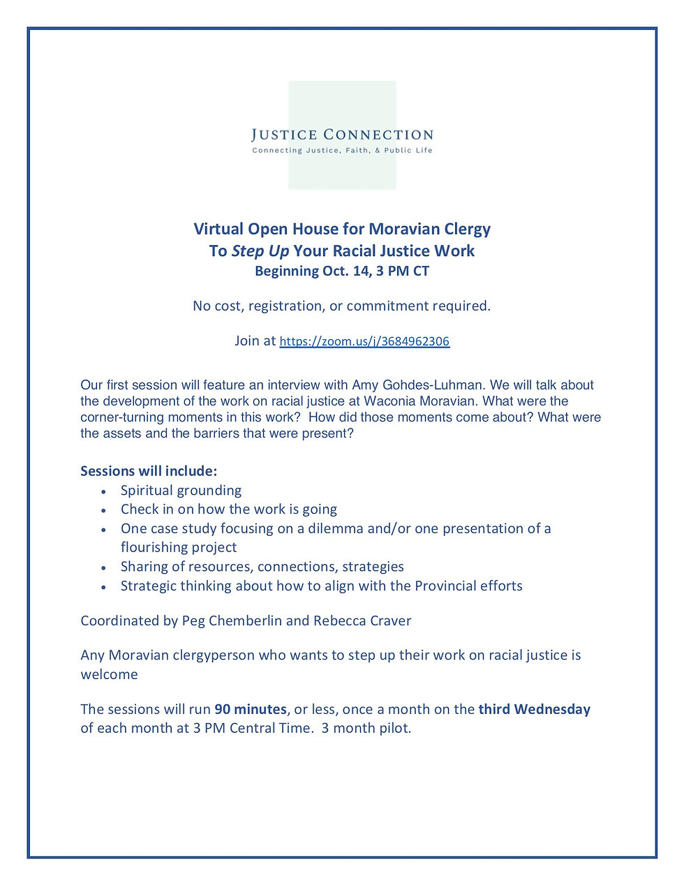 Virtual Open House for Moravian Clergy o