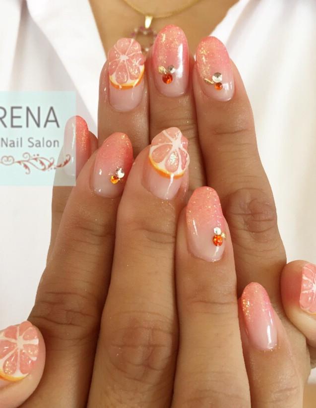ピンクグレープフルーツネイル