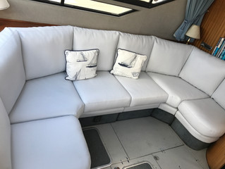 Newly covered faux leather seating