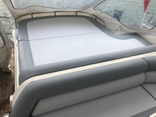 Sunseeker upholstery recover new foam and covered in nautolex vinyl