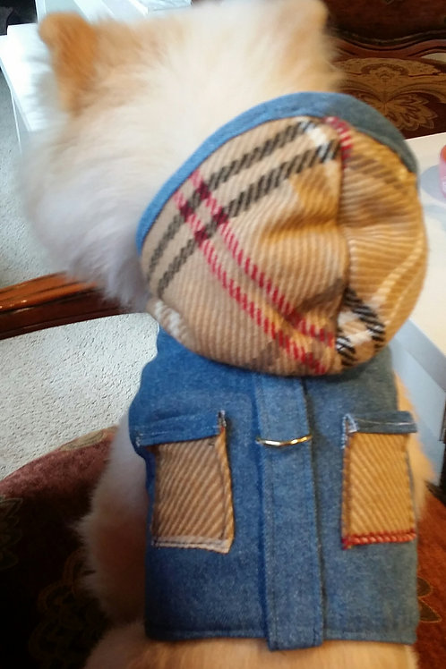 Burberry inspred Hoodie vest harness