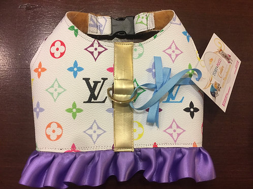 Multicolored White LV inspired with skirt harness small