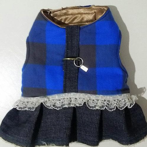Plaid Blue Harness Dress