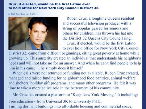 TV Producer Ruben Cruz Runs for District 32 Queens City Council