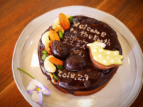 メッセージ付きデコショコラケーキ