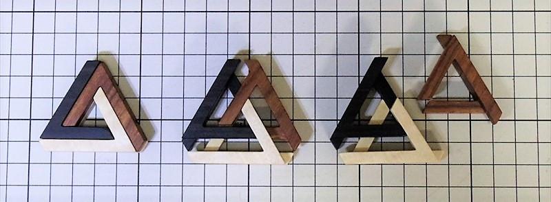 ペンローズの三角形組木 組み外し