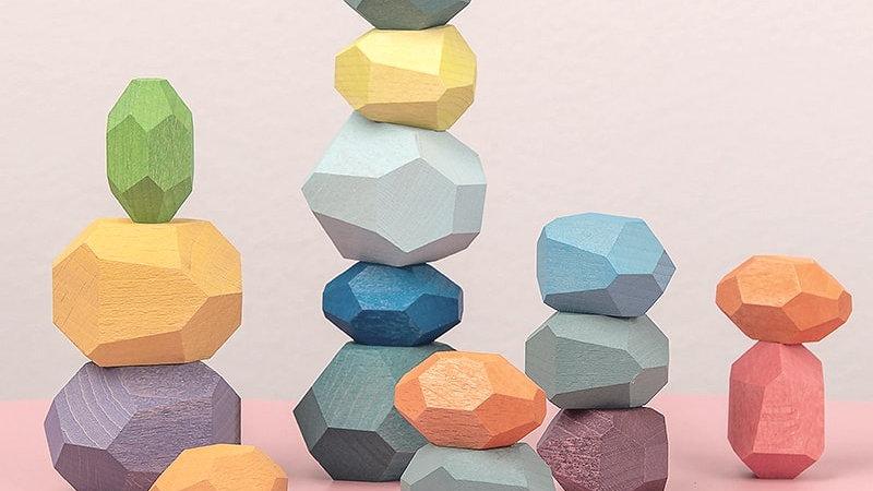 Children's Colored Wooden Stones