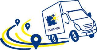 Camion Emmaüs logistique