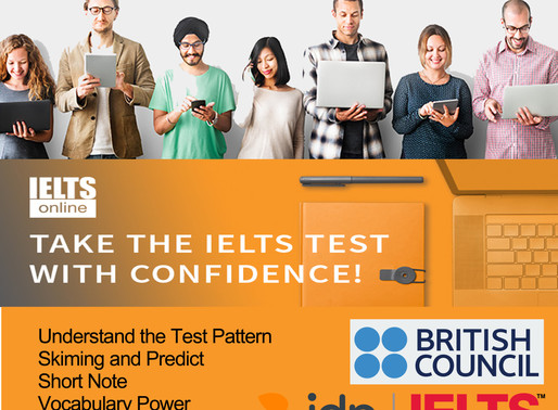 Online IELTS General Training and Academic Modules, Exam schedule on 28 September 2019.