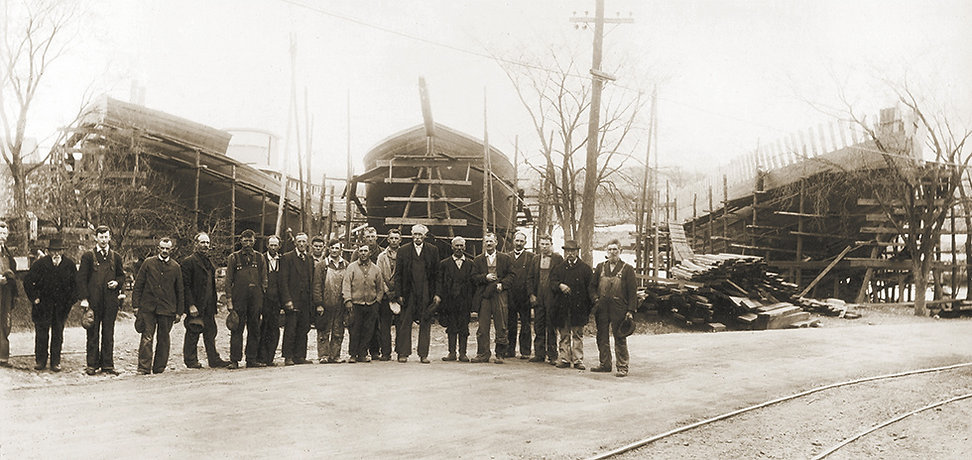 A.D. Story Gang at Essex Shipyard 1918