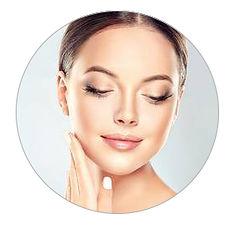 circle beautiful woman with clean makeup