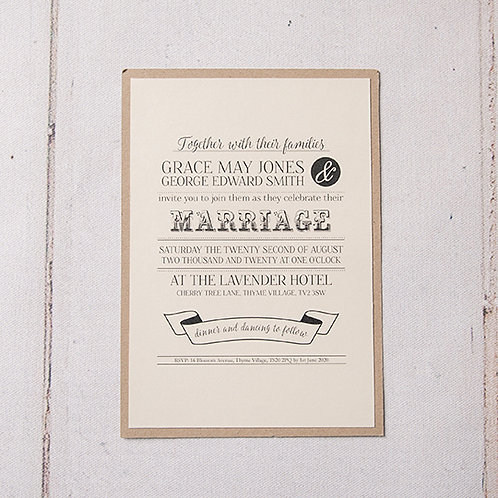 Betty Flat Wedding Invitation