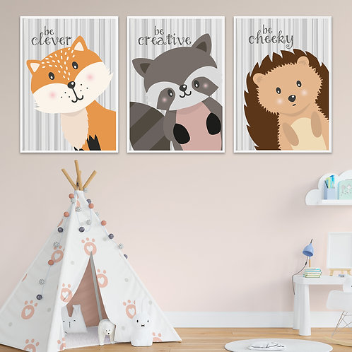 Be... Woodland Collection Trio Print Set