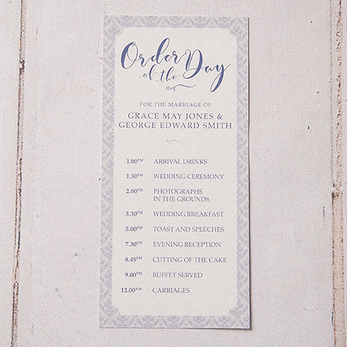Mabel Order of Day Card