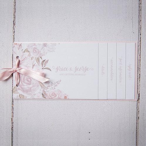 Summer Cheque Book Style Wedding Invitation