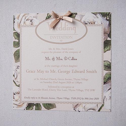 Rose Flat Wedding Invitation