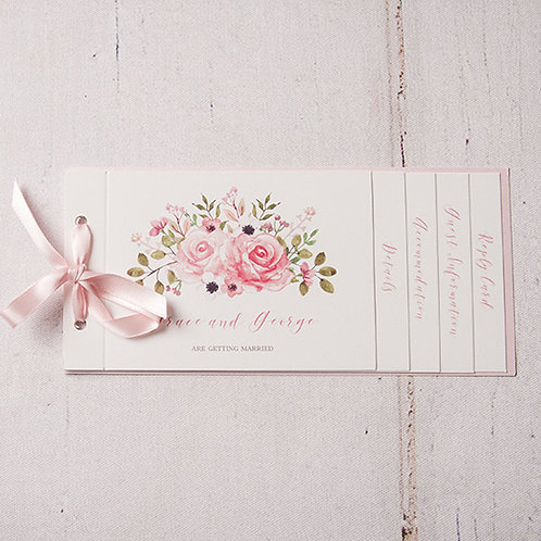 Fleur Cheque Book Style Wedding Invitation
