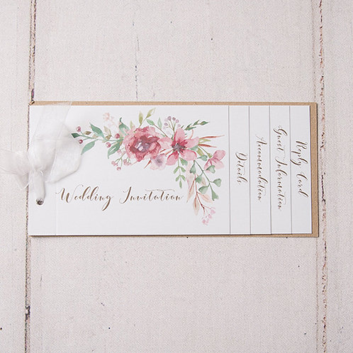 Belle Cheque Book Style Wedding Invitation