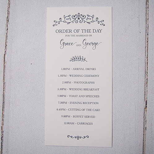 Paige Order of Day Card