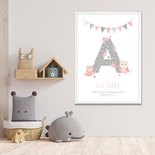 New Baby Initial Owls Print