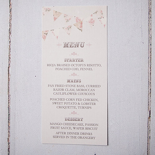 Savannah Table Menu