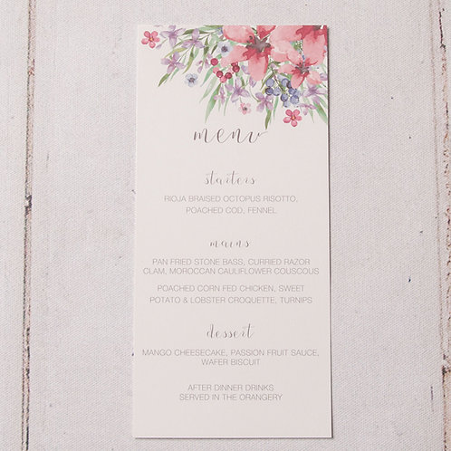 Flora Table Menu