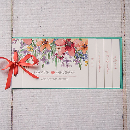 Lola Cheque Book Style Wedding Invitation
