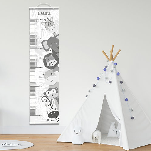 Personalised Grey Jungle Height Chart