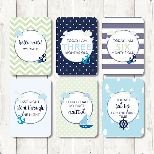 Nautical Baby Milestone Cards