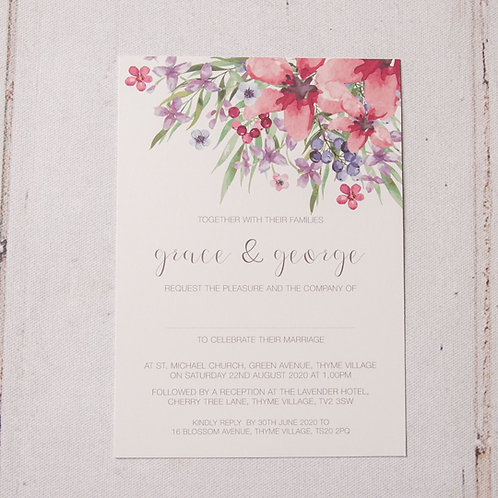 Flora Flat Wedding Invitation