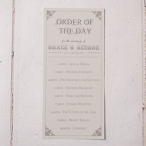 Sadie Order of Day Card