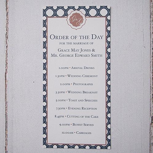 Milan Order of Day Card