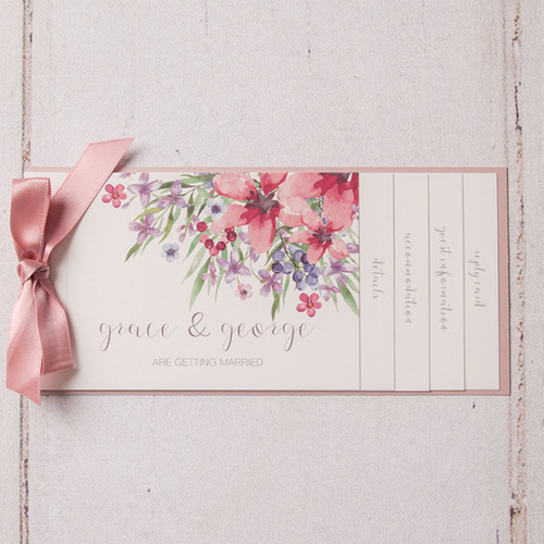 Wedding Invitation Book Style: Flora Cheque Book Style Wedding Invitation