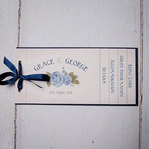 Polly Cheque Book Style Wedding Invitation